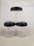 8 oz. Clear plastic jars w/black dome top - 1 dozen